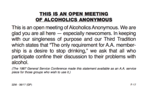 Any Lengths Online AA Meetings - Open Meeting Statement of Alcoholics Anonymous